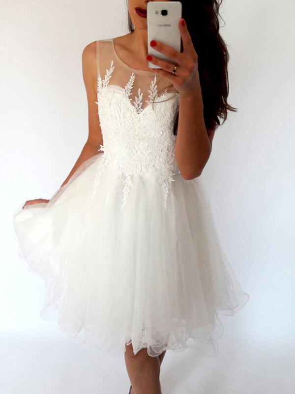 White Short Tulle Homecoming Dress with Applique