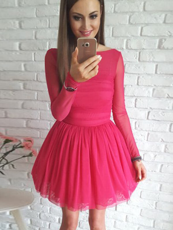 Round Neck Short Tulle Homecoming Dress with Long Sleeves