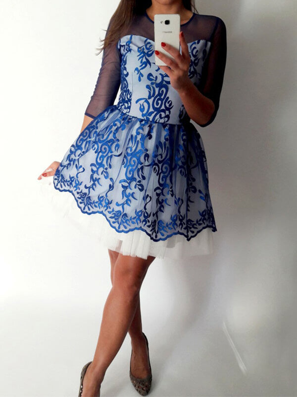 Royal Blue Lace Homecoming Dress with Long Sleeves