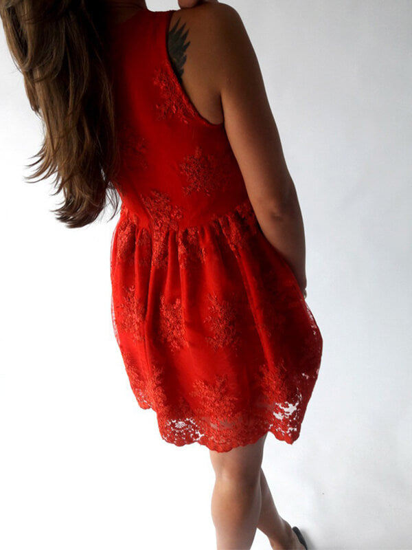 Red V-neck Short Lace Homecoming Dress(SHD190558)