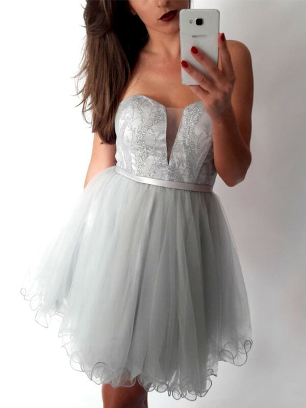 Silver Sweetheart Tulle Homecoming Dress with Beadings