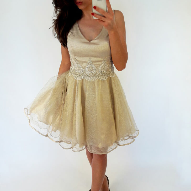 V-neck Gold Short Tulle Homecoming Dress