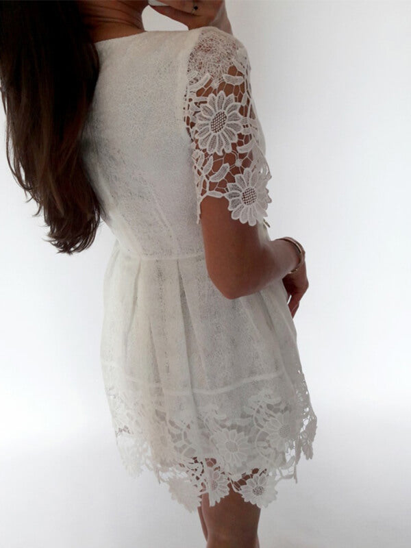White Lace Short Homecoming Dress with Short Sleeves