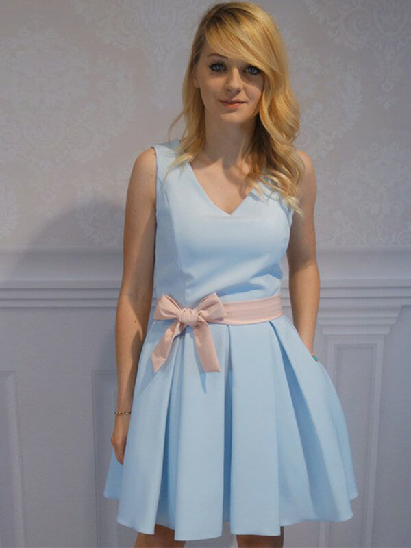 Sky Blue V-neck Short Satin Homecoming Dress with Knot(SHD190566)
