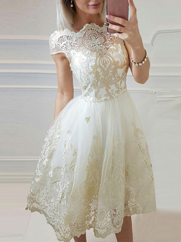 Ivory Knee Length Homecoming Dress with Cap Sleeves