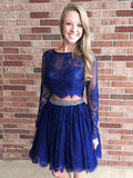 Royal Blue Two Pieces Homecoming Dress with Long Sleeves