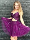 Two Pieces Purple Tulle Homecoming Dress with Beadings