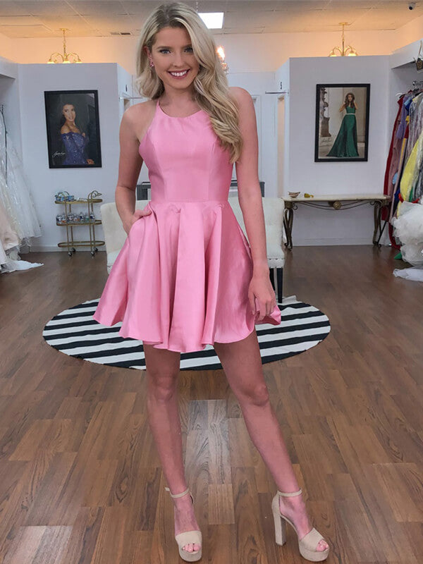 Halter Pink Short Satin Open Back Homecoming Dress