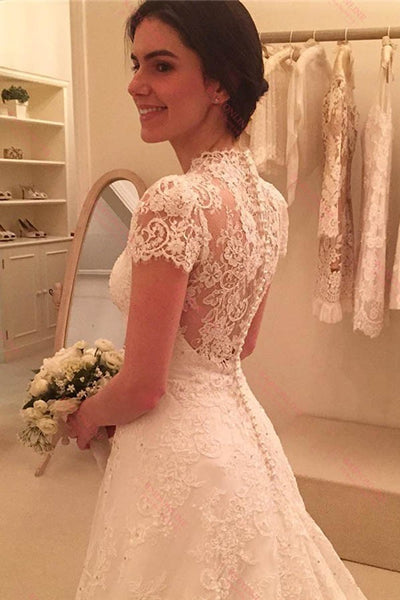 A Line Sweep Train Lace Wedding Dresses with Cap Sleeves-simibridal