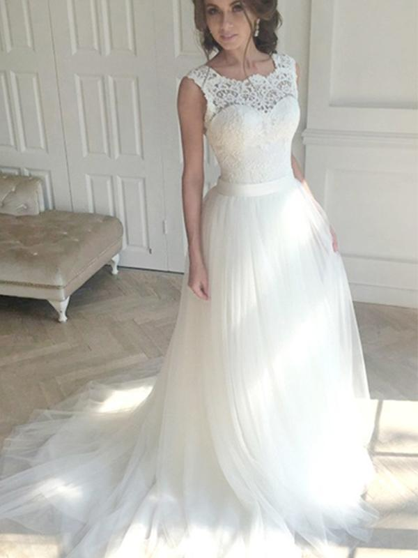 A Line Long Tulle Wedding Dresses with Lace-simibridal