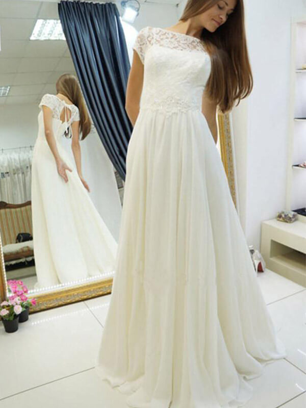 Simple A Line Long Chiffon Wedding Dresses with Lace-simibridal