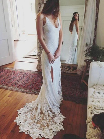 Sexy Spaghetti Straps Floor length Lace Wedding Dress with Split-SIMISPROM