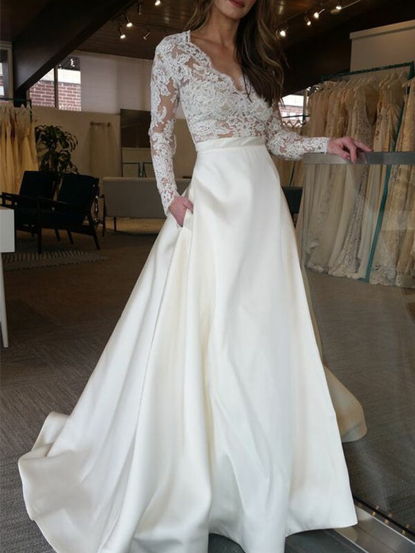Elegant A Line Lace Bodice Long Satin Wedding Dress with Long Sleeves-simibridal