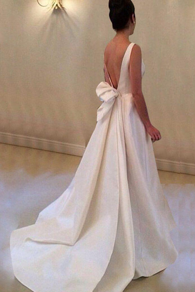 Simple A Line Backless Satin Wedding Gown with Knot-simibridal