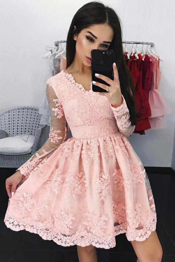Pink Lace V-neck Short Homecoming Dress Party Dresses-simibridal