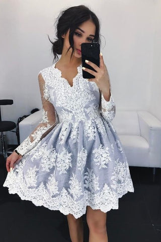 V-neck Lace Short Long Sleeves Homecoming Dress Party Dresses-simibridal