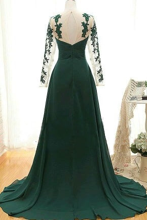 Dark Green A Line Long Chiffon Prom Dresses with Sleeves(ED2191)