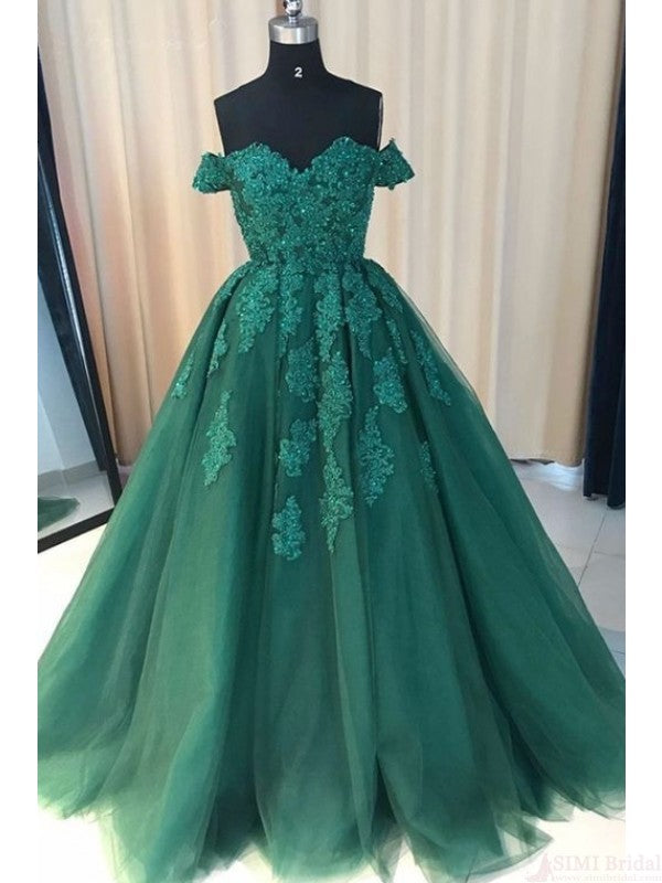 Off Shoulder Long Tulle Prom Dress with Applique(ED2233)
