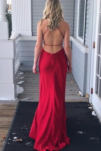 Red Spaghetti Straps Satin Prom Dresses with Slit-simibridal