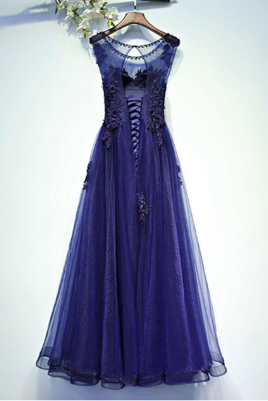 Round Neck Purple Long Tulle Prom Dresses with Applique(ED2398)