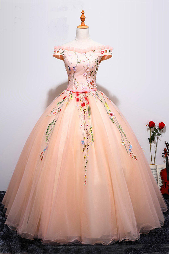 Off Shoulder Pink Floor Length Prom Ball gown with Applique(ed2404)