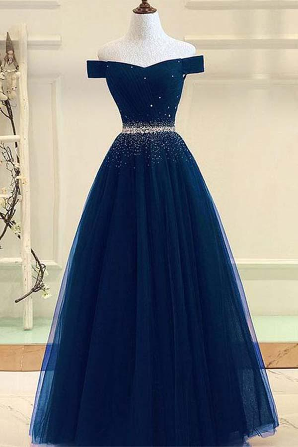 Off Shoulder Long Tulle Prom Dresses with Rhinestone(ED2426)
