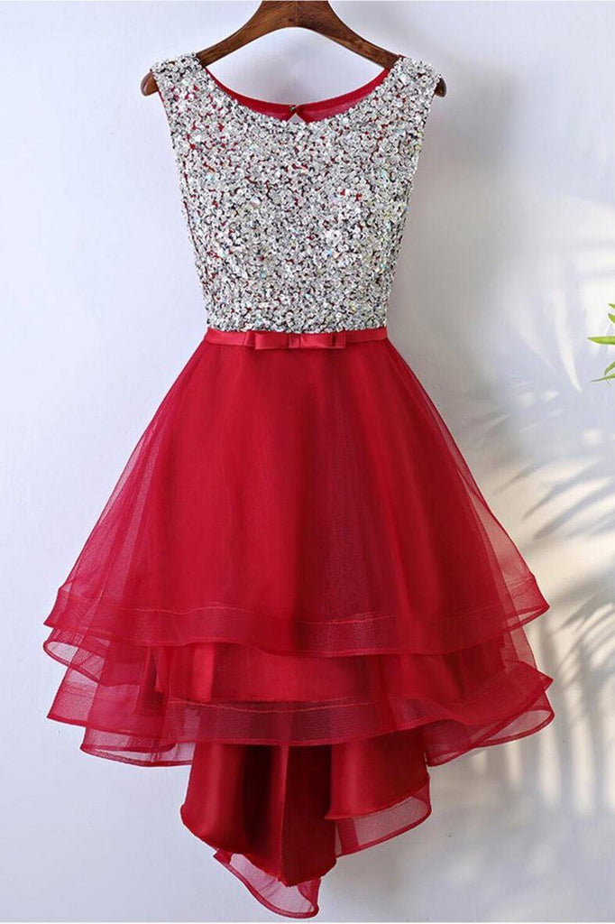 Red High Low Tulle Beading Homecoming Dresses(ed2455)