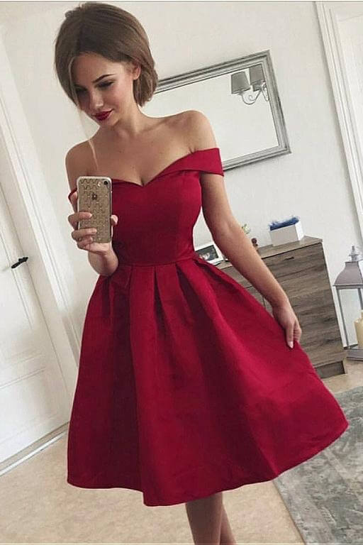 Burgundy Off Shoulder Satin Homecoming Dresses (ED2521)