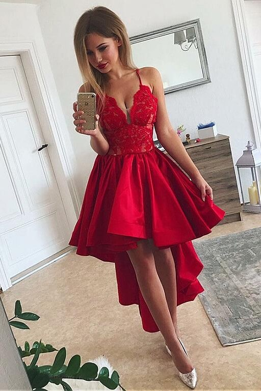Spaghetti Straps High Low Satin Homecoming Dresses (ED2522)