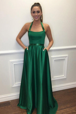 A Line Halter Dark Green Long Satin Prom Dresses-simibridal