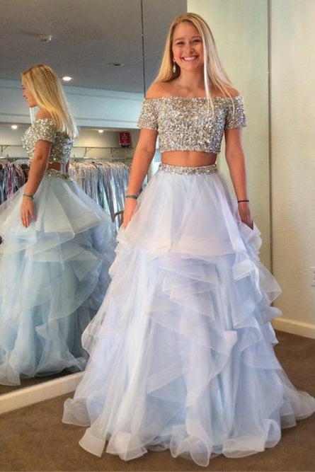 Two Pieces Light Sky Blue Tiered Prom Dresses with Beadings-simibridal