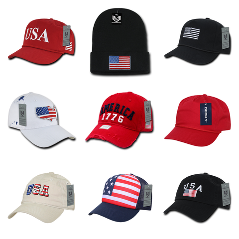Wholesale bulk American flag USA hats and caps. We also offer promo & promotional hats, custom embroidered with your logo for businesses, companies, and brands.