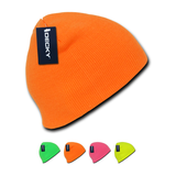Wholesale Blank Neon Short Knit Beanies (no cuff) - Decky 814