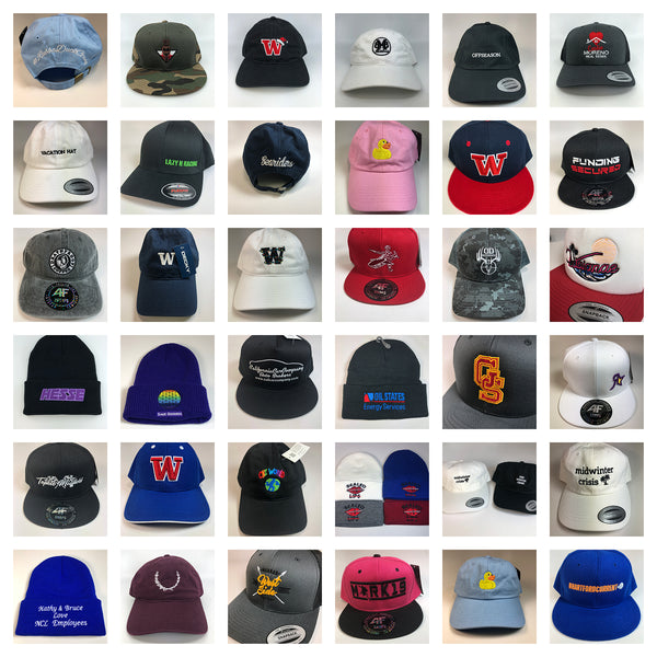 We offer custom hats, embroidered hats, custom hat embroidery, promotional hats, wholesale custom hats & wholesale embroidered hats in bulk, and wholesale hat embroidery.