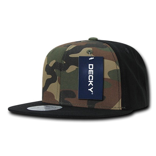 Decky 1049-WWK, New with Tags Woodland Camo and Khaki Cotton Hat Flat Bill Snapback Cap
