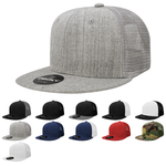 Blank 6 Panel Trucker Flat Bill Snapback Hats - Decky 1052
