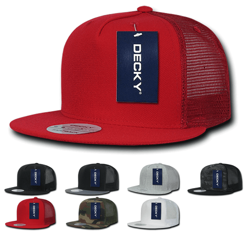Blank 5 Panel Trucker Flat Bill Snapback Hats - Decky 1063