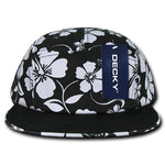 5-Panel Floral Tropical Racer Racing Jockey Hat Camper Cap Solid Bill - Decky 1070