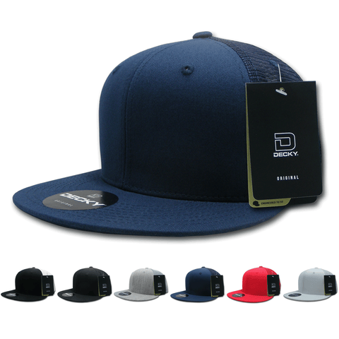 Fitted Flat Bill Trucker Hats, Retro Fitted Cotton Cap, Mesh Back - Decky 1075