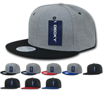 Melton Wool Flat Bill Snapback Hats - Decky 1087