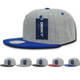 Heather Grey 2-Tone Flat Bill Snapback Hats - Decky 1092