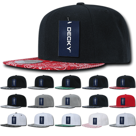 Lot of 6 Decky Bandana Bill Paisley Snapback Hats Flat Bill Caps Bulk