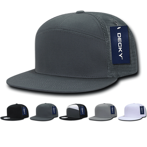 Blank 7 Panel Trucker Flat Bill Snapback Hats - Decky 1133