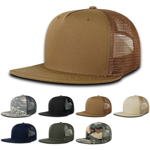5-Panel Ripstop Trucker Mesh Hats Snapback Flat Bill Caps - Decky 3021