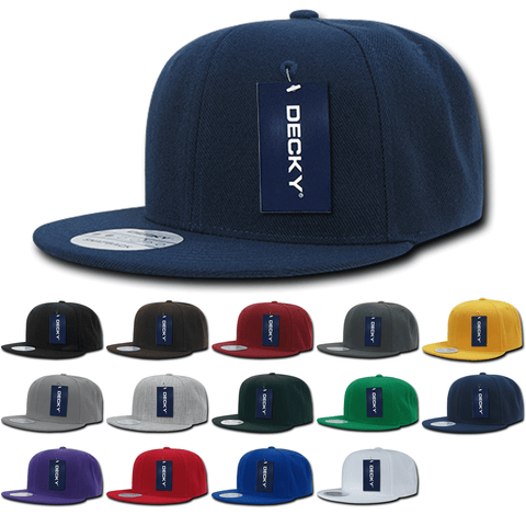Lot of 12 Decky Snapback Hats Flat Bill Caps Bulk