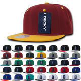Lot of 12 Decky Snapback Hats Flat Bill Caps 2-Tone Color Bulk