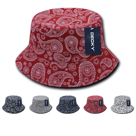 Lot of 6 Decky Paisley Bucket Hats Fisherman Hats Bulk, Bandana Pattern