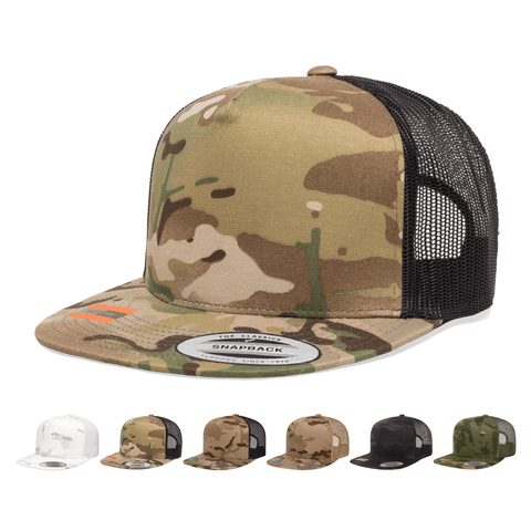 Yupoong 6006MC MultiCam Camo Trucker Snapback Hat, Flat Bill Cap with Mesh Back, Camouflage