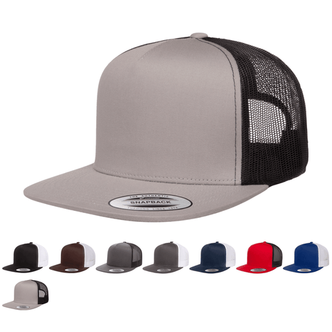 Yupoong 6006T Classic Trucker Snapback Hat, Flat Bill Cap with Mesh Back, 2-Tone Colors