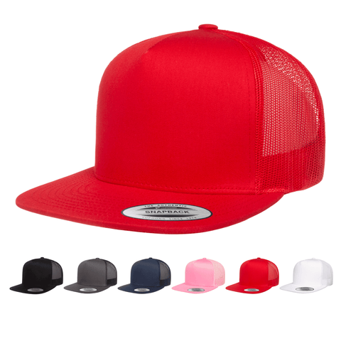 Yupoong 6006 Classic Trucker Snapback Hat, Flat Bill Hat with Mesh Back